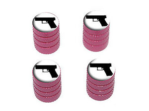 Handgun-Weapon-Black-White-Tire-Rim-Wheel-Valve-Stem-Caps-Pink