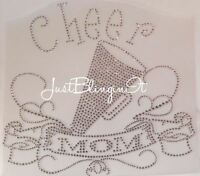 Cheer Mom With Banner Rhinestone Iron On Transfer Bling