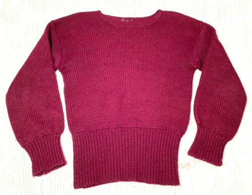 Vtg 1930s 40s WWII era Burgundy Wool Varsity Sport
