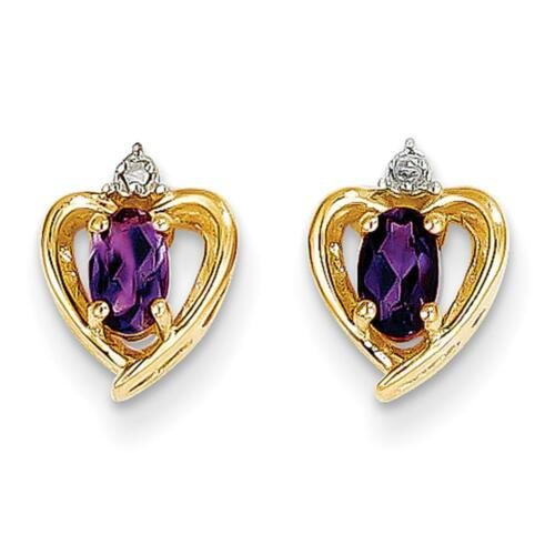 14k YG February Amethyst Diamond Birthstone Heart Post Earrings 17mm x 10mm