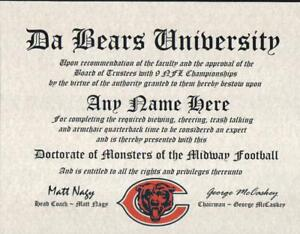 BEARS ~ CHICAGO BEARS  MAN CAVE ~ CERTIFICATE ~ DIPLOMA GREAT  FUN   GIFT