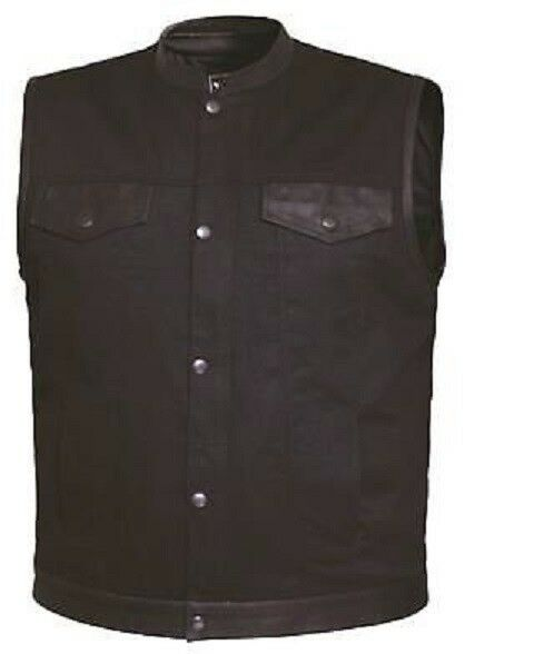Men's Denim Leather Vest, Concealed Snaps, Motorcycle Club Vest, DS992,