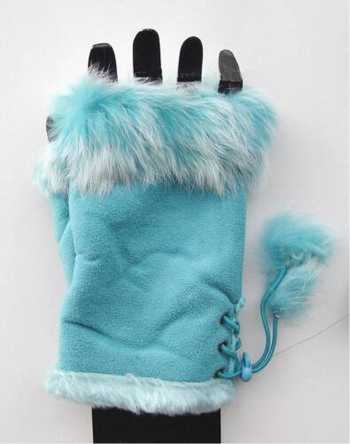 Handschuhe Damen Mädchen Winter Fell gefüttert  wildlederoptik Ohne Finger