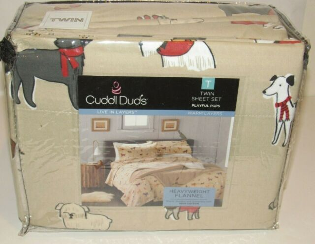 Cuddl Duds Flannel Sheet Set Twin brand new in package Playful Pups