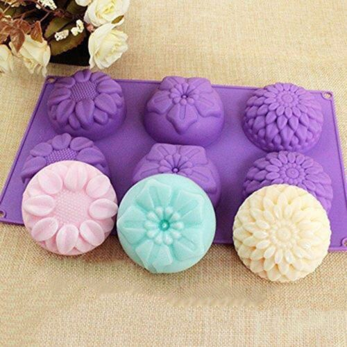 6 Cavity Purple Flower Shaped Silicone DIY Handmade Soap Candle Mold Craft Mould