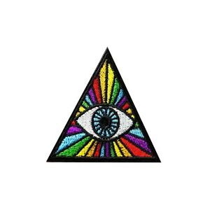 Image Is Loading All Seeing Eye Iron On Patch Rainbow Pyramid