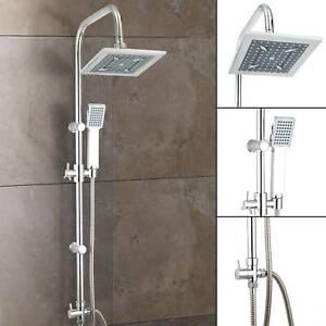 Stainless-Steel-Dual-2-Mixer-Shower-Heads-Rainfall-Rail-Hose-Riser-Kit-Valve-Set