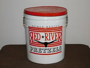 """VINTAGE OLD FOOD 14"""" HIGH NEIMAN MARCUS RED RIVER PRETZELS LARGE TIN CAN *EMPTY*"""