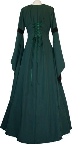 Moyen âge Gothik Carnaval Chasuble Robe Costume Johanna vert foncé-noir xs-60