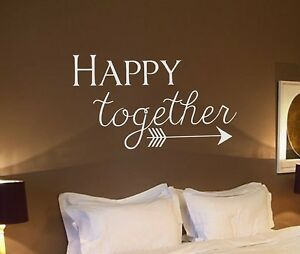 Details about Vinyl Wall Decal- Happy together -arrow Wall Quotes- Bedroom  Decor Wedding Decor