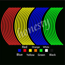 8/16pcs Colorful Motorcycle Car Wheel Rim Tape Decal Stripes Stickers Reflective