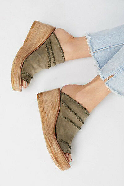 A.S. Dakota Wedge Plattform Slide läder Sandals SZ 38 NWOB NWOB NWOB  äkta