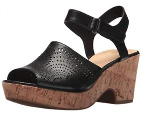 4d3aa7c365d2 Clarks Women s Maritsa Nila Black Leather Wedge Sandal 26132121