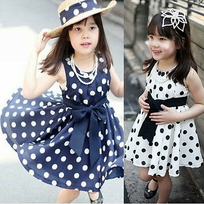 Baby Kids Girls Princess Party Silk Ribbon Bow Dot Solid Fancy Dresses 2-7Y