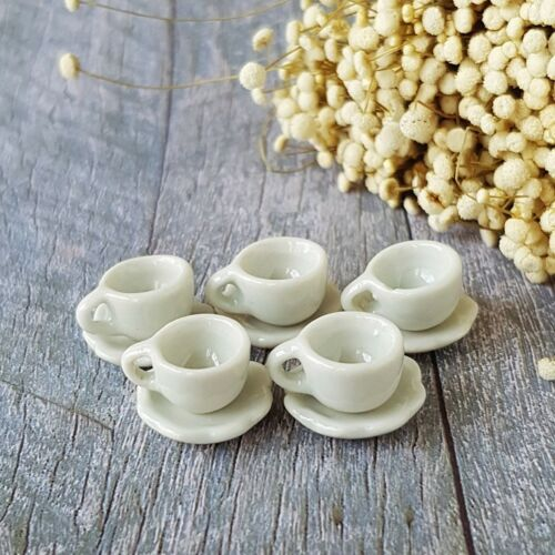 Dollhouse Miniatures Ceramic Coffee Tea Cup Set Mini White Beverage Supply Lot