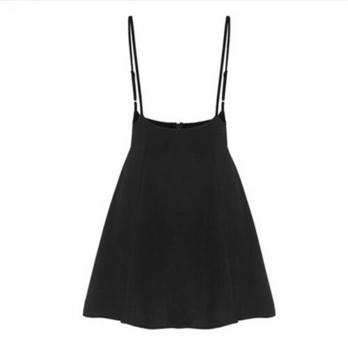 Women Black High Waist Skirt with Shoulder Straps Pleated Suspender Dress Sale