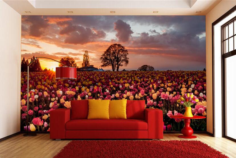 3D Delightful Tulip Garden Wallpaper Decal Decor Home Kids Nursery Mural  Home