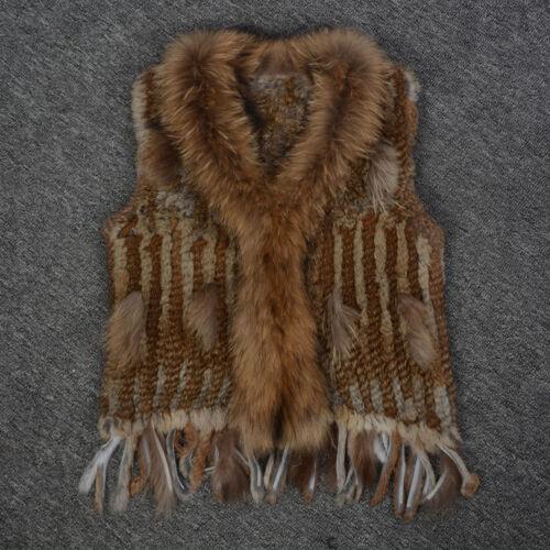 Echte Kaninchenfell Weste Waschbären Pelzkragen Damenmode 91700