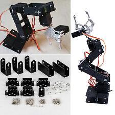 Black 1 Set 6 DOF Aluminium Mechanical Robotic Arm Clamp Claw Mount Robot Kit