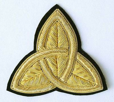 """2 Hand-Embroidered, Bullion Appliques. Gold Trinity. 3"""""""