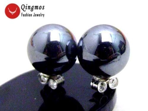 10 mm ronde naturelle Noir Hématite Boucles d/'oreilles pour femmes Argent S925 Clou ear161