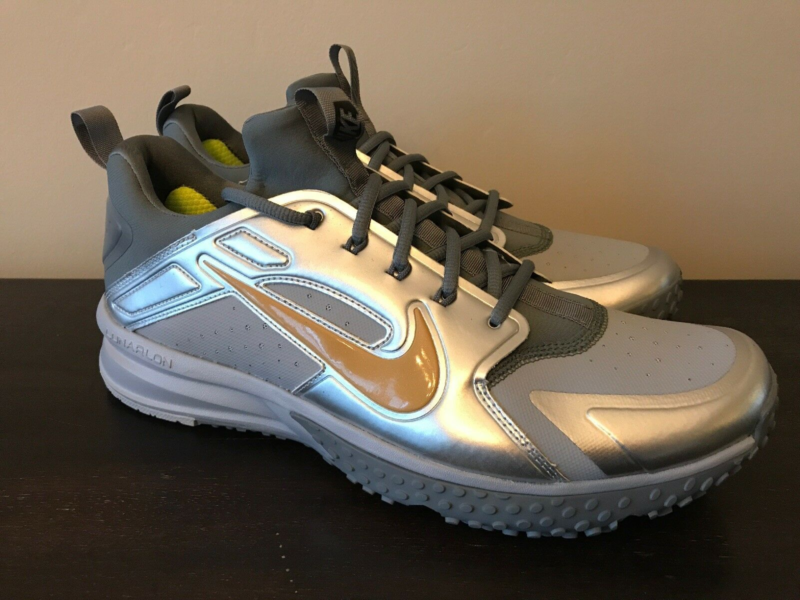 46b87cd9a Nike Men s Lunar Huarache Baseball Turf shoes Grey Grey Grey gold Size 11.5  923435-071