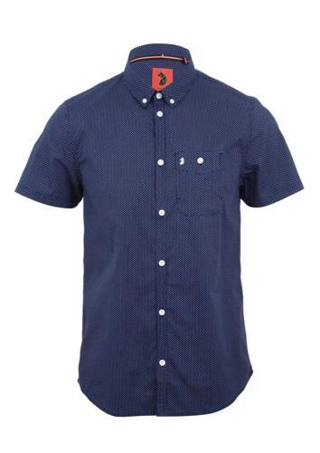 Luke 1977 Little Ronnie Short Sleeve Button Down Shirt Navy RRP £68.99