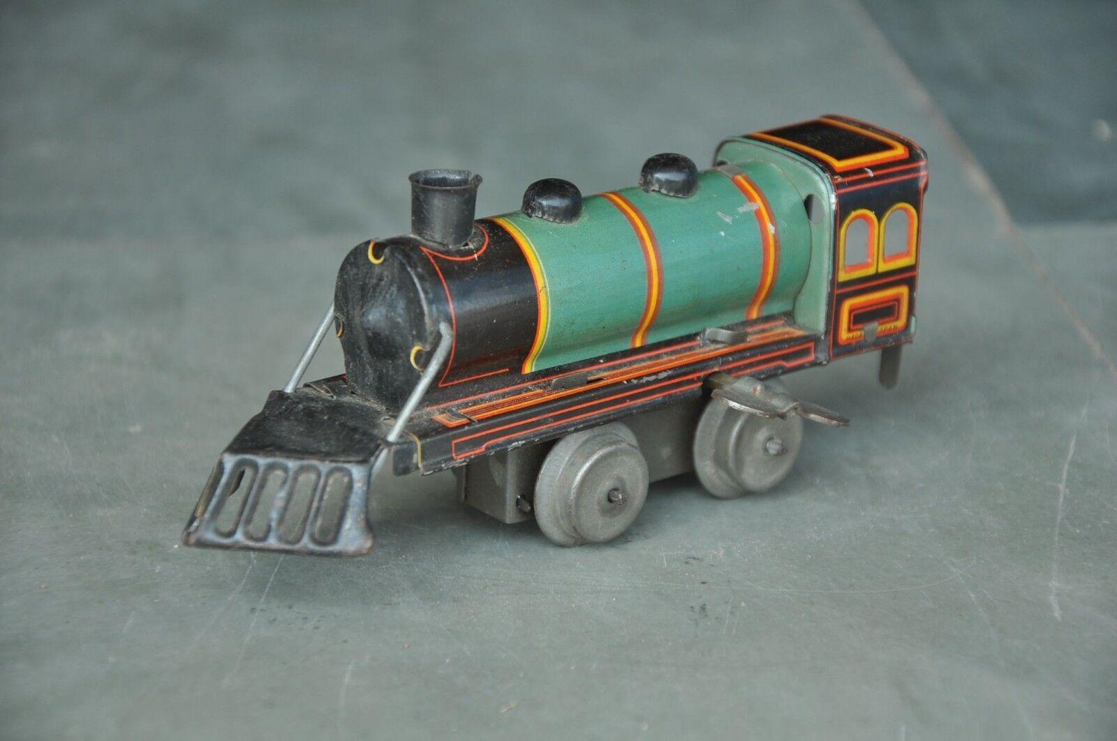 Vintage Wind Up Litho Train Engine Tin Toy, Japan