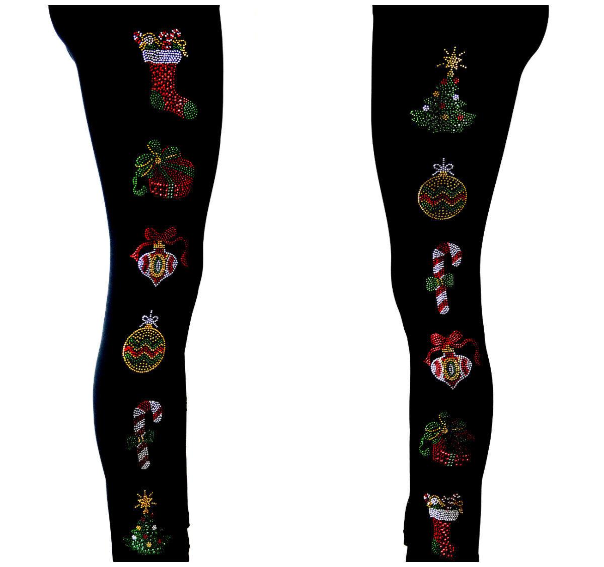PLUS SIZE Hand Embellished Rhinestone & Stud Christmas Holiday Ornaments Design