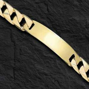 10k Solid Yellow Gold Mens ID Curb Link Bracelet 14 mm 43 grams 8.5