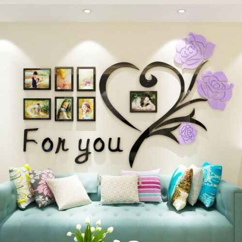 Family Rose Wall Stickers 3D DIY Photo Frame Wall Decals Mural Living Room Decor
