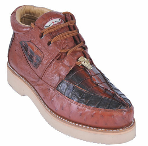 Los Altos Genuine COGNAC Caiman Crocodile Ostrich Casual Shoes Lace Up D