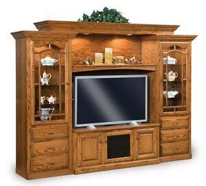 Image is loading Amish-TV-Entertainment-Center-Solid-Oak-Wood-Media-  sc 1 st  eBay & Amish TV Entertainment Center Solid Oak Wood Media Wall Unit Cabinet ...
