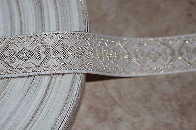 """1.75 yards White Metallic Gold JACQUARD Brocade woven sewing ribbon Trim 1"""" r574"""