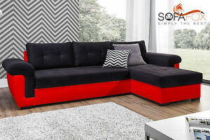 New Corner Sofa Bed With Storage Black Fabric Red Leather