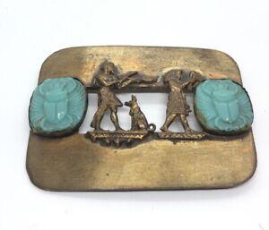 Vintage-Egyptian-Revival-Scarab-Brass-Brooch-Beetle