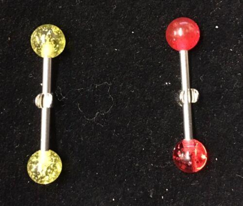 Stainless Steel Plastic GLITTER SPARKLE Nipple Tongue Bar Body Piercing 16mm B20