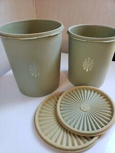 2 Vintage Tupperware Canisters & Servalier Seals ~.Olive Green