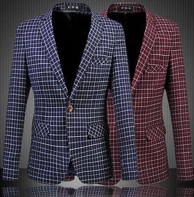 "Mens Chequered Blazer Jacket Adults Cotton Smart Slim-Fit Fashion Coat 33"" - 45"""