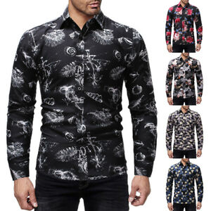 Fashion-Men-039-s-Summer-Casual-Dress-Shirt-Mens-Floral-Long-Sleeve-Shirts-Tops-Tee