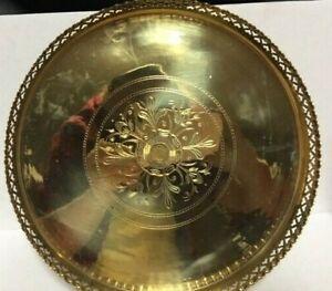 Antique-Round-Ornate-Solid-Brass-Tray-Vintage-Serving-Plate-Platter-12-034-diameter