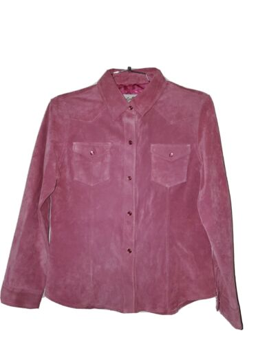 Scully pink Suede western shirt size L