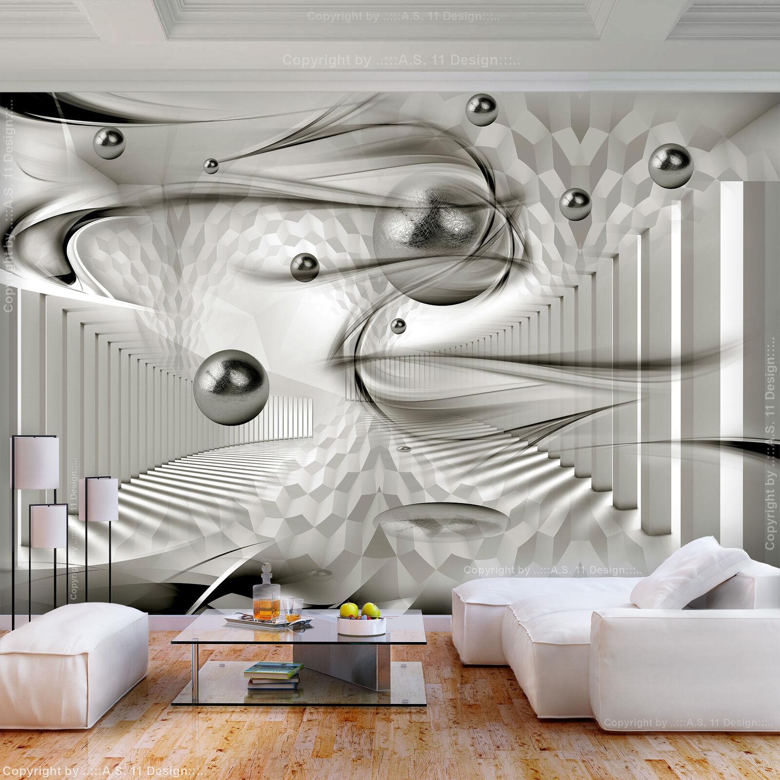 VLIES FOTOTAPETE Abstrakt Kugeln grau 3D effekt TAPETE WANDBILDER XXL Wohnzimmer