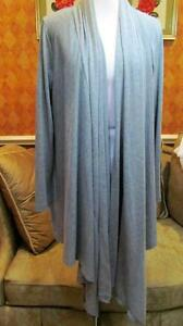 Cable & Guage Gray Drape Front Sweater Size L