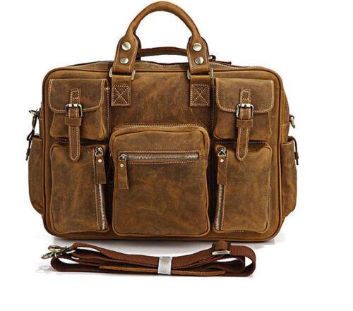 """16.5/"""" Men High Quality Vintage Genuine Leather Briefcase Laptop Messenger bag"""