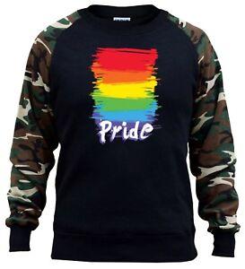 New Men/'s Rainbow Flag #LGBT Camo//Black Raglan Hoodie Gay Pride Lesbian Equality