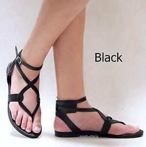 New Women Fa12 Red Tan Beige Rhinestone Mid Calf Roman Gladiator Flat Sandals