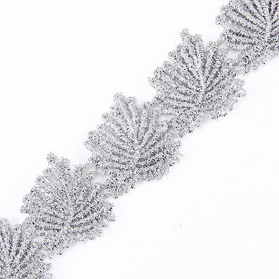 30mm wide Leaf Metallic Rayon Embroidery Scalloped Lace Trim for Bridal Wedding