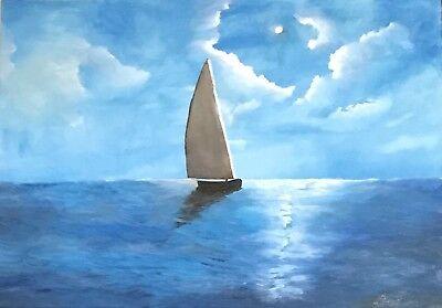 Marina barca vela olio su tela dipinto opera finita arredo for Arredo barche