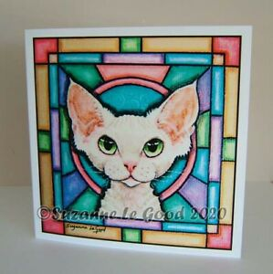Devon Rex cat art birthday greetings card from original painting Suzanne Le Good